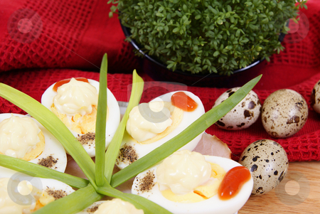 Breakfast stock photo, Halfes of eggs with cress made as background by Jolanta Dabrowska
