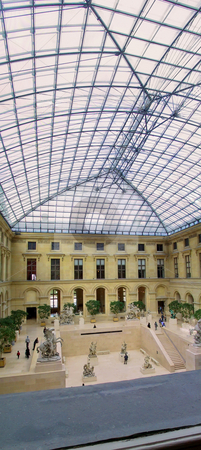 Louvre Courtyard Panorama stock photo, Vertical Panorama of the Courtyard of the Louvre Museum  After the I M Pei addition by Thomas Marchessault