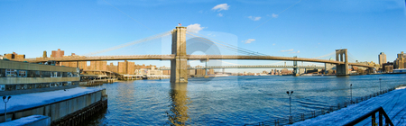 Brooklyn Bridge Panorama stock photo, Panorama of the Brooklyn Bridge from the South, New York, NY by Thomas Marchessault