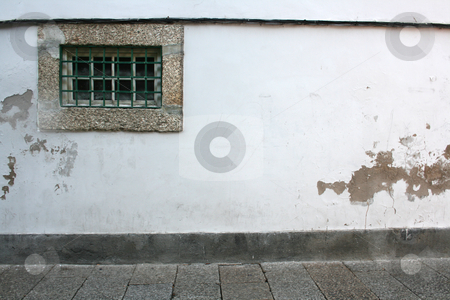 Wall stock photo, Old window on a white wall by Marc Torrell