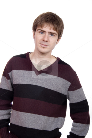 Man in striped sweater stock photo, Young blonde man white isolate by Marc Torrell