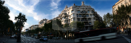 Pedrera details stock photo, Gaudi building and lampost. by Marc Torrell