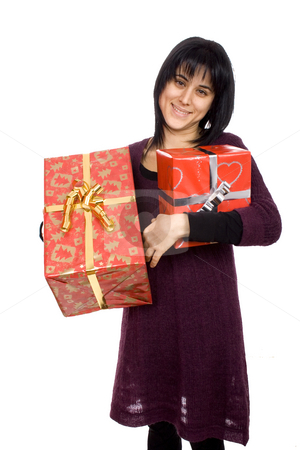 Give me a present stock photo, Young woman giving or receving a red present by Marc Torrell