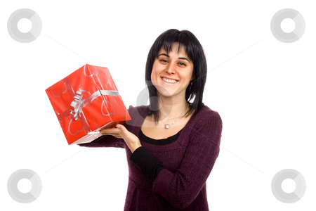 Give me a present stock photo, Happy young woman with presents by Marc Torrell