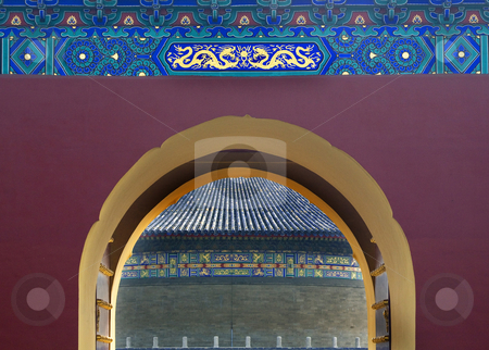 Gate Details Temple of Heaven Beijing China stock photo, Gate Details Temple of Heaven Beijing ChinaLooking at the Imperial Vault of Heaven by William Perry