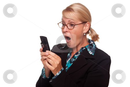 Shocked Blonde Woman Using Cell Phone stock photo, Shocked Blonde Woman Using Cell Phone Isolated on a White Background. by Andy Dean