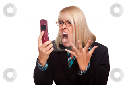 Angry Woman Yells At Cell Phone stock photo, Angry Woman Yells At Cell Phone Isolated on a White Background. by Andy Dean