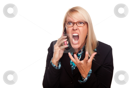 Angry Woman Yells While On Cell Phone stock photo, Angry Woman Yells While On Cell Phone Isolated on a White Background. by Andy Dean
