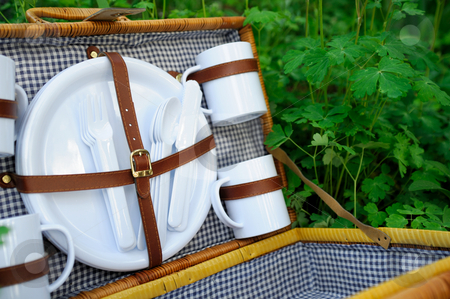 Picnic Basket stock photo, Empty wicker picnic basket with plates, cups and eating utensils with the inside lined with black and white gingham fabric. by Lynn Bendickson
