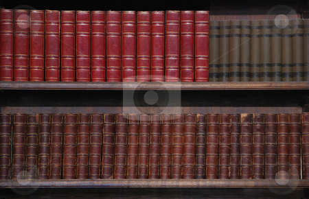 Old Books stock photo, Two rows of old books on bookshelves. by Denis Radovanovic