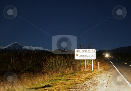 Mt. Ngauruhoe at night stock photo, Mt. Ngauruhoe at night with illuminated road sign, New Zealand by David Schmidt