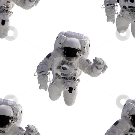 Seamless Background Astronaut stock photo, Seamless white background with an flying astronaut  Some components of this image are provided courtesy of NASA, and have been found at nasaimages.org by Henrik Lehnerer