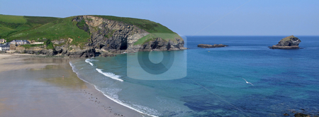 Panoramic view of Portreath beach and gull rock island in Cornwall UK. stock photo, Panoramic view of Portreath beach and gull rock island in Cornwall UK. by Stephen Rees