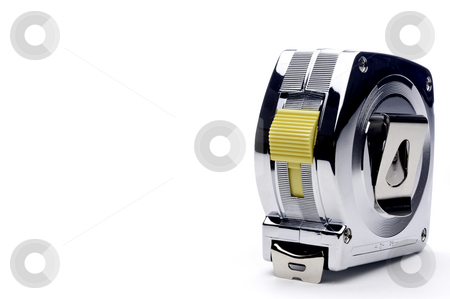 Horizontal view of a metal locking tape measure stock photo, Horizontal view of a metal locking tape measure by Vince Clements