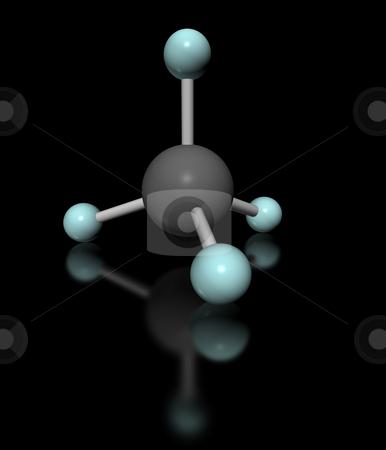 Methane black stock photo, Molecular model of methane on black background by ANTONIO SCARPI