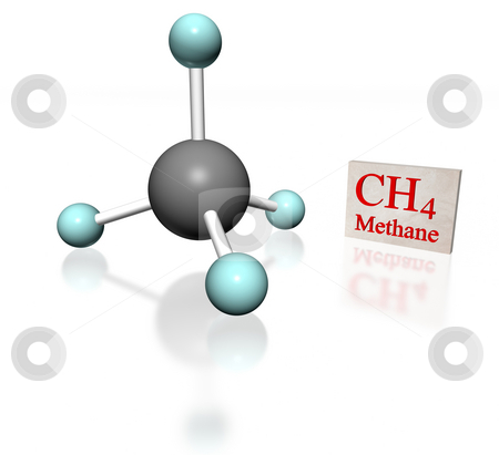 Metano white stock photo, molecular model of methane with label on white background by ANTONIO SCARPI