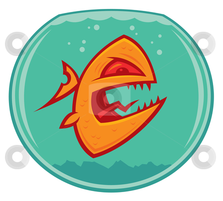 Vicious Goldfish stock vector clipart, Vector cartoon of an angry and vicious goldfish in a small fishbowl. He could also be a piranha. by John Schwegel