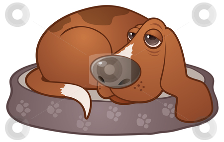 Sleepy Hound Dog stock vector clipart, Vector cartoon illustration of a sleepy hound dog lying on a paw print dog bed. by John Schwegel