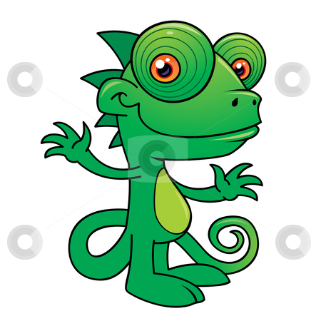 Happy Chameleon stock vector clipart, Vector illustration of a Happy little chameleon drawn in a humorous cartoon style. by John Schwegel