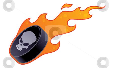 Flaming Hockey Puck stock vector clipart, Vector drawing of a flaming hockey puck with skull design. by John Schwegel