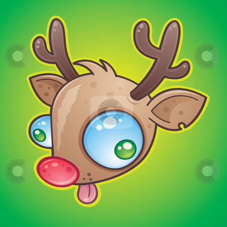Rudolph the Red Nosed Reindeer stock vector clipart, Wacky Rudolph The Red Nosed Reindeer face with bulging eyes sticking out his tongue. drawn in a humorous cartoon style. by John Schwegel