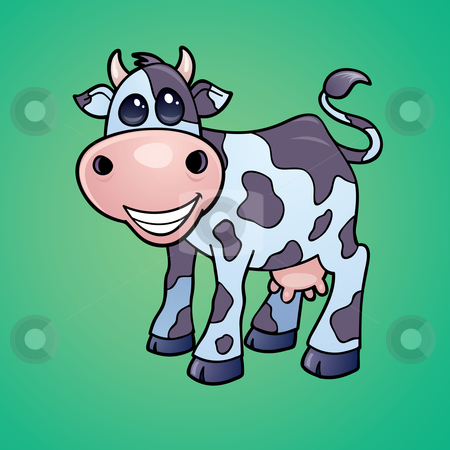 Dairy Cow stock vector clipart, Vector drawing of a Happy little dairy cow drawn in a humorous cartoon style. by John Schwegel