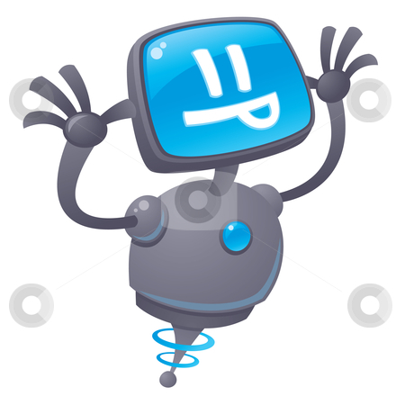 Razz Robot stock vector clipart, Vector cartoon illustration of a silly robot with a computer screen face sticking out his tongue giving a raspberry. by John Schwegel