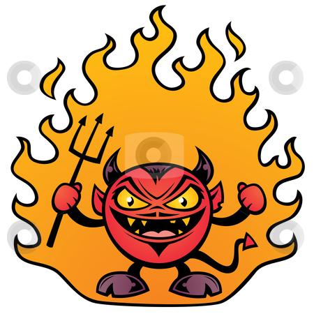 Fat Devil stock vector clipart, Vector illustration of a fat little devil character. by John Schwegel