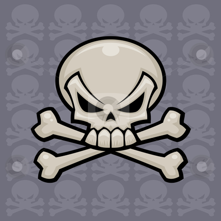 Skull and Crossbones stock vector clipart, Skull and crossbones vector illustration. Might look nice on a pirate flag or a bottle of poison. by John Schwegel