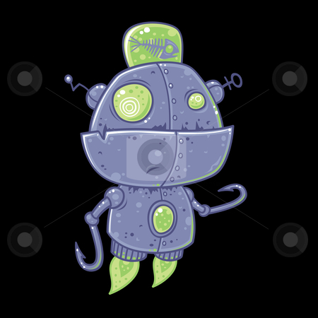 Fishing Robot stock vector clipart, Silly vector robot drawn in a humorous cartoon style. This robot was designed for fishing and is powered by rotting fish. by John Schwegel