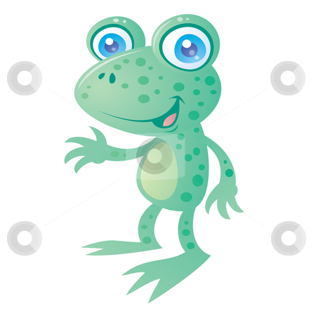 Happy Frog stock vector clipart, Cute little happy frog smiling and waving. Drawn in a humorous cartoon style. by John Schwegel