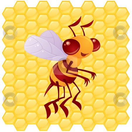 Honey Bee stock vector clipart, Cute vector honey bee in front of a honeycomb background drawn in a humorous cartoon style. by John Schwegel