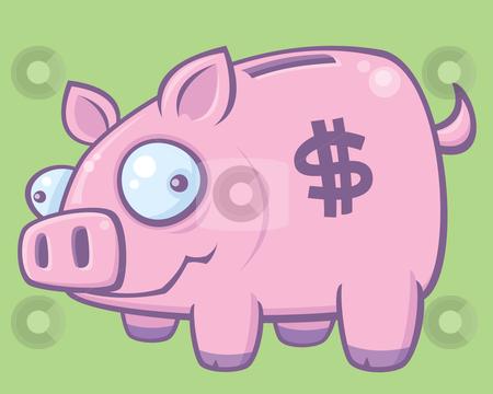 Piggy Bank stock vector clipart, Cartoon vector illustration of a silly piggy bank. by John Schwegel