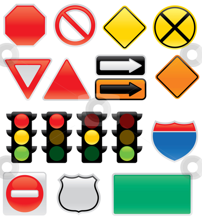 Traffic and Map Symbols and Signs stock vector clipart, A collection of vector traffic signs and map symbols. Stop, yield, traffic lights, interstate and highway signs, one way, detour, construction sign, railroad, do not enter. by John Schwegel