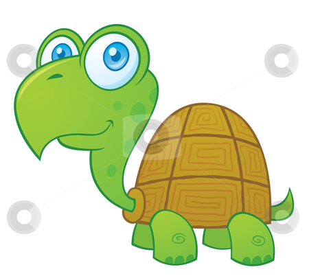 Cartoon Turtle stock vector clipart, Vector cartoon illustration of a cute little turtle. by John Schwegel