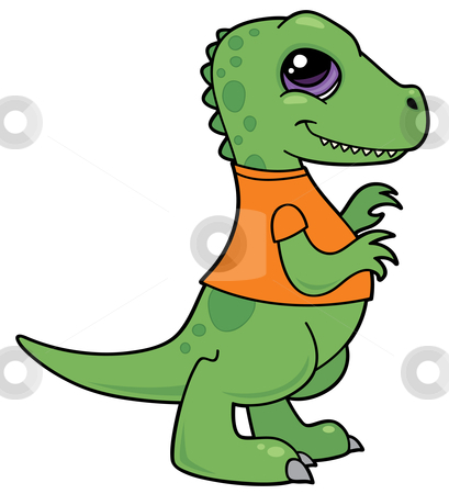 Tyrannosaurus Rex Baby stock vector clipart, Vector cartoon illustration of a green baby Tyrannosaurus Rex dinosaur wearing an orange shirt. by John Schwegel