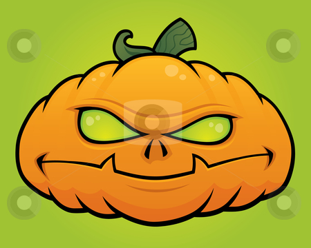 Pumpkin Monster stock vector clipart, Spooky vector Halloween pumpkin head monster drawn in a humorous cartoon style. by John Schwegel