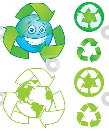 Recycle Symbol and Earth Character stock vector clipart, Vector cartoon planet Earth with recycle symbol and several vector recycle symbols and icons. Great mascot or logo for going green or recycling. by John Schwegel