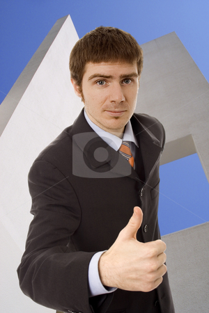 Man with thumbs up stock photo, Young business man white isolate by Marc Torrell