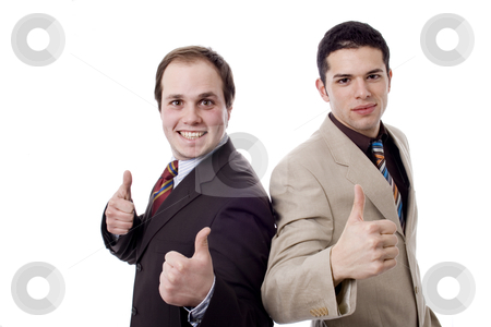 Men thumbs up stock photo, Young business men white isolate by Marc Torrell