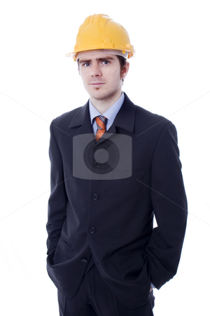 Man stock photo, Young business man with yellow helmet white isolate by Marc Torrell