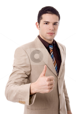 Business man stock photo, Business man finger ok white isolate by Marc Torrell