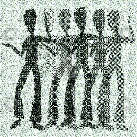 Halftone raster dancing boys stock vector clipart, Halftone raster dancing boys on dots background by Karin Claus