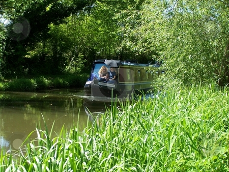 Canal scene stock photo, Barge, canal, summer, leisurely by Lee Measures