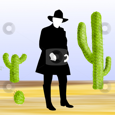 Cowboy in Desert stock photo, A cowboy dressed in black in the desert surrounded with cacti. by Karen Carter