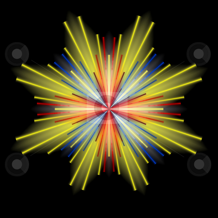 Color Burst stock photo, Red, blue, and yellow burst forth from a central point on a dramatic black background. by Karen Carter