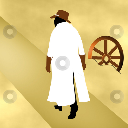 Cowboy in White Overcoat stock photo, A cowboy in a white overcoat walking through the desert with an abandoned wagon wheel. by Karen Carter