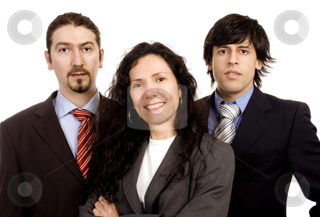 Business team stock photo, Two men and as woman business team white isolate portrait by Marc Torrell