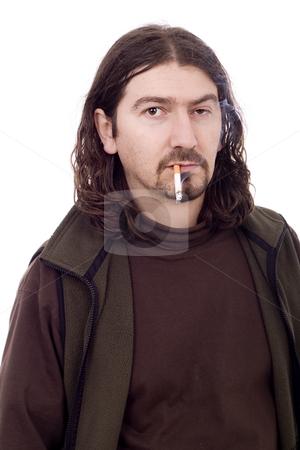 Smoking man stock photo, Smoking unsuccess young casual man by Marc Torrell