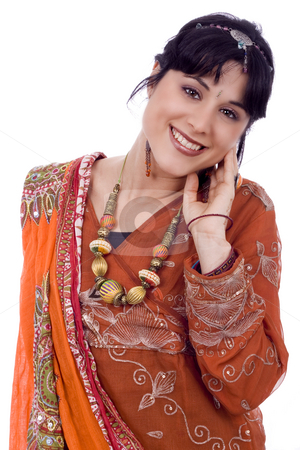 Beautiful smiling woman stock photo, Beautiful young smiling ethnic woman white isolate by Marc Torrell